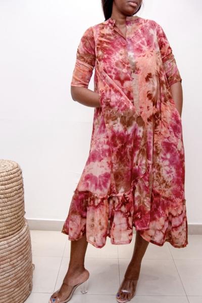 Silk adire womenswear dress.