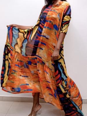 Ugo trapeze dress chiffon print.