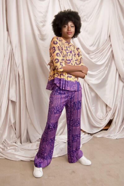Adire print shirt and trousers