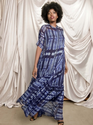Ugo trapeze dress (Braid adire chiffon)