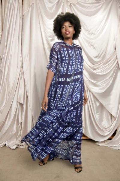 Adire chiffon designer african maxi